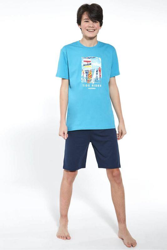 519-21 Піжама для хлопчиків підлітків 37 Tropical Cornette бірюзовий-синій