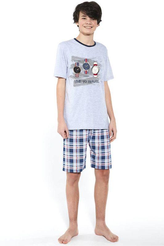 551-21 Пижама для мальчиков подростков 34 Time to travel Cornette меланжевый-синий