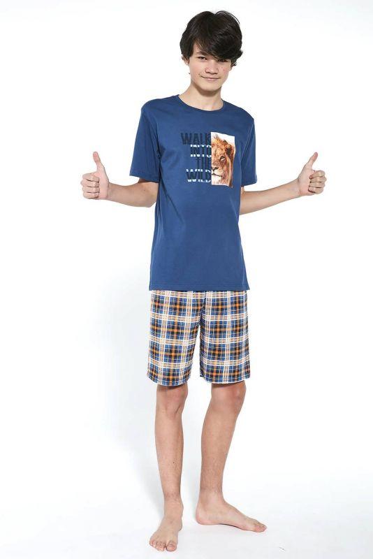 551-21 Пижама для мальчиков подростков 35 Wild Cornette джинсовый-темно-синий