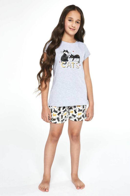 787-21 Пижама для девушек 87 Cats Cornette меланжевый-белый