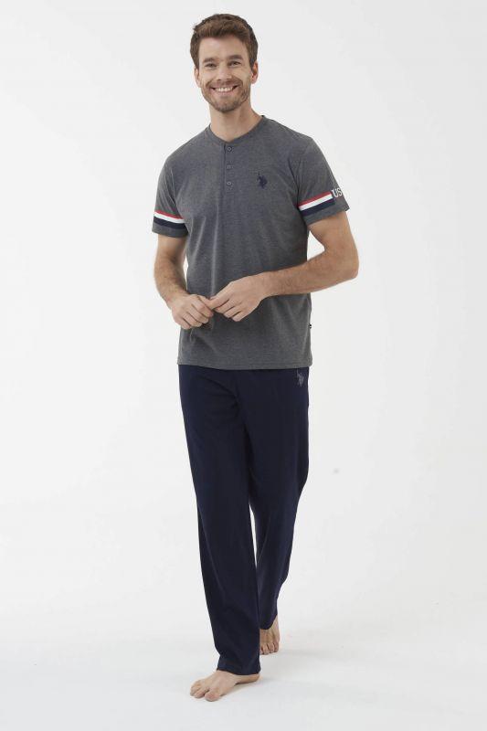 18446 Мужская пижама U.S. Polo ASSN серый-меланжевый