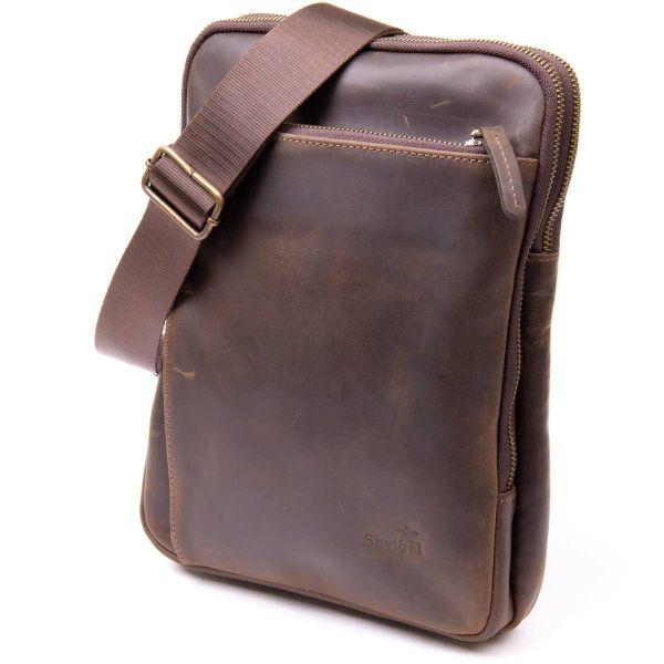 Оригинальная сумка с накладным карманом на молнии в матовой коже 11280 SHVIGEL, Коричневая