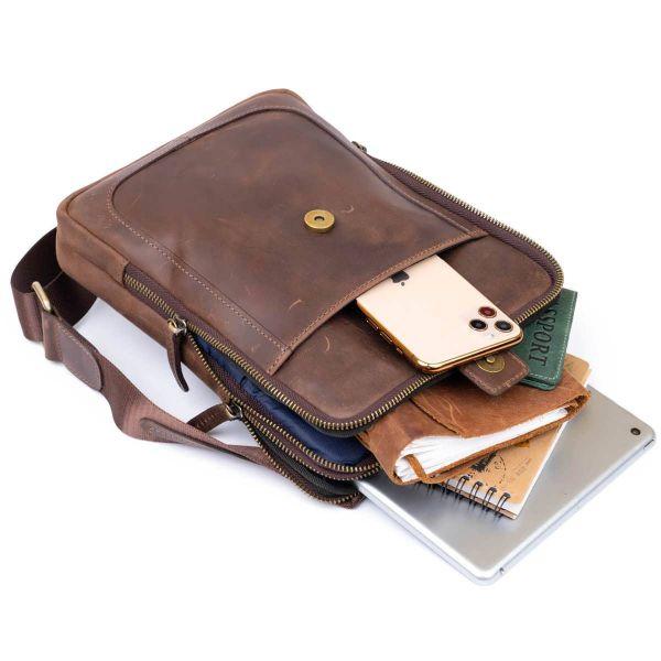 Сумка мужская планшет на два отделения кожаная SHVIGEL 11285 Коричневая