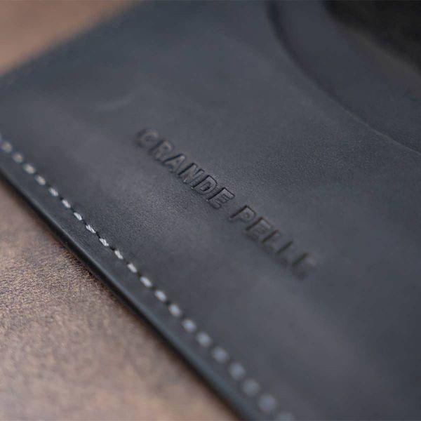 Визитница с обложкой для ID -паспорта из натуральной кожи GRANDE PELLE 11290 черная