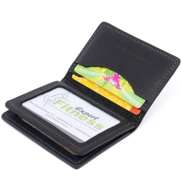 Визитница с обложкой для ID-паспорта из натуральной кожи GRANDE PELLE 11291 Черная
