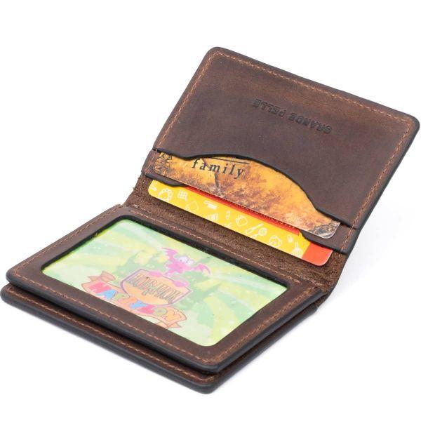 Визитница с обложкой для ID-паспорта из натуральной кожи GRANDE PELLE 11292 Коричневая
