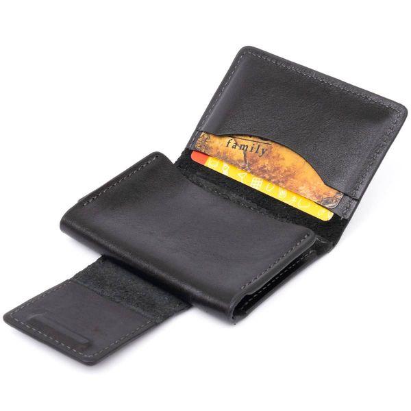 Визитница для карточек глянцевая из натуральной кожи GRANDE PELLE 11293 Черная