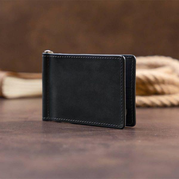 Стильный зажим для денег без застежки GRANDE PELLE 11294 Черный