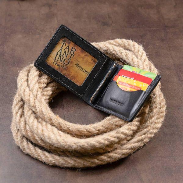 Стильное портмоне с зажимом для денег без застежки GRANDE PELLE 11295 Черное