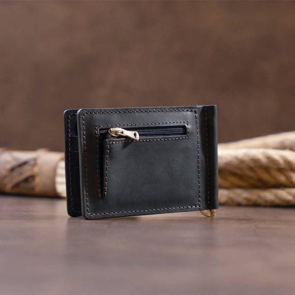 Стильное портмоне с зажимом для денег без застежки винтажное GRANDE PELLE 11296 Черное