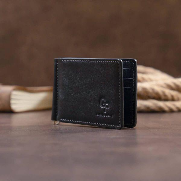 Стильное портмоне с зажимом для денег без застежки в гладкой шкуре GRANDE PELLE 11297 черное