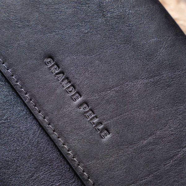 Горизонтальная барсетка-клатч мужская в гладкой коже GRANDE PELLE 11298 Черная