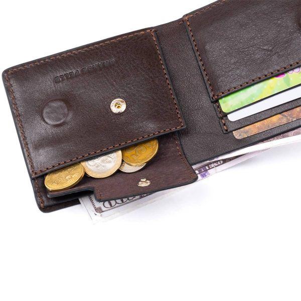 Строгое портмоне в гладкой коже на магнитах GRANDE PELLE 11307 Коричневое