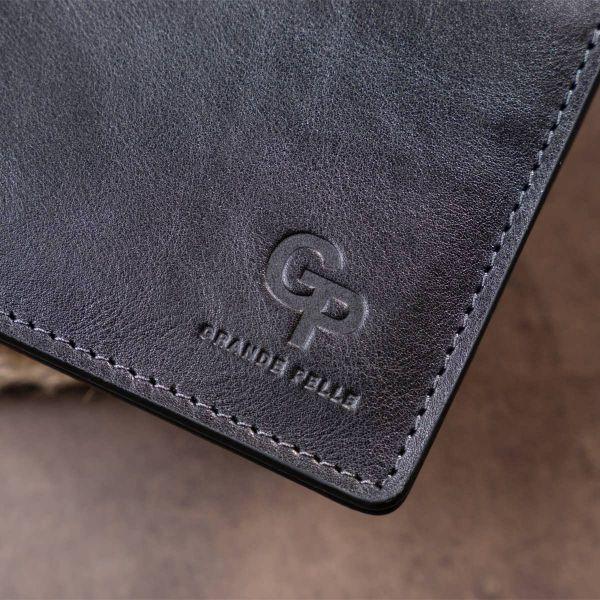 Горизонтальное портмоне в гладкой коже без застежки GRANDE PELLE 11311 черное