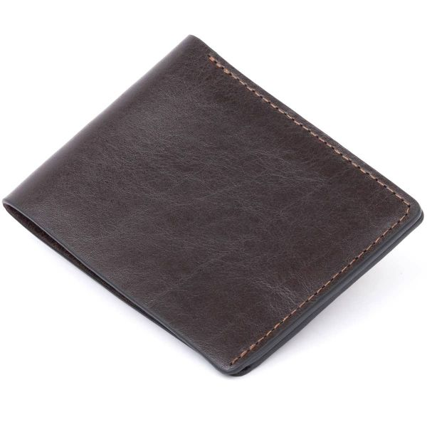 Стильное портмоне в гладкой коже GRANDE PELLE 11312 Коричневое