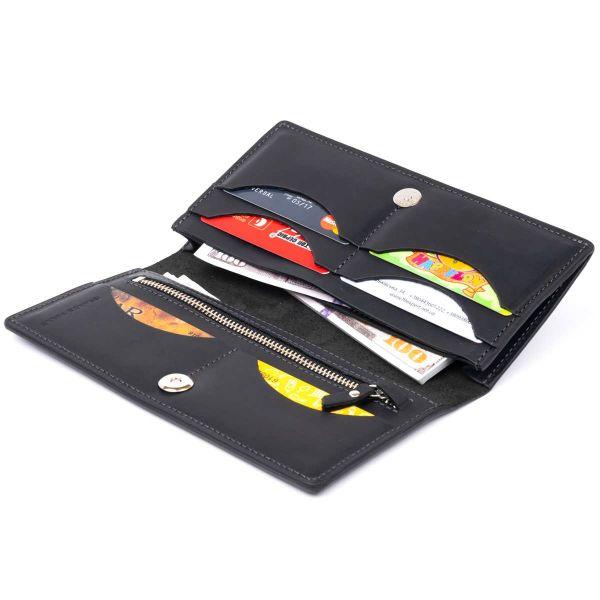 Вертикальный бумажник матовый на магнитной кнопке GRANDE PELLE 11313 Черный
