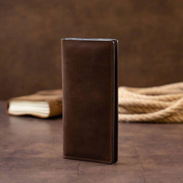 Вертикальный кошелек матовый на магнитной кнопке GRANDE PELLE 11314 шоколадный