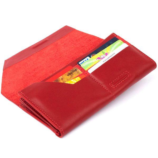 Горизонтальный клатч глянцевый на магните GRANDE PELLE 11318 красный
