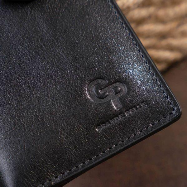 Вертикальный бумажник глянцевый Anet на кнопке GRANDE PELLE 11324 Черный