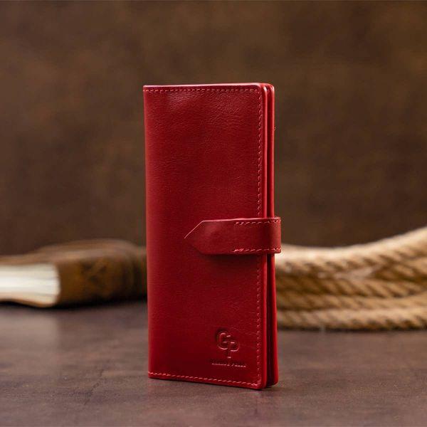 Вертикальный женский кошелек глянцевый Anet на кнопке GRANDE PELLE 11325 красный