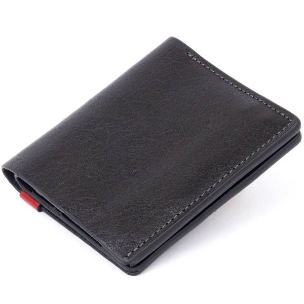 Стильное портмоне-кредитниця комби в гладкой шкуре GRANDE PELLE 11327 черное