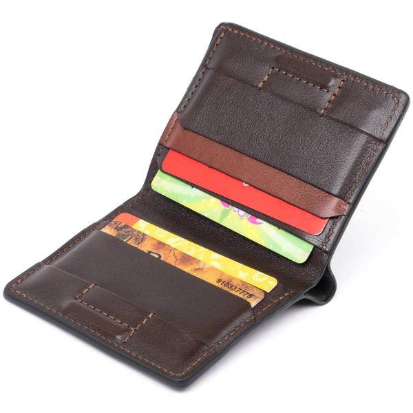 Вертикальное портмоне-кредитница комби в гладкой коже GRANDE PELLE 11328 Коричневое