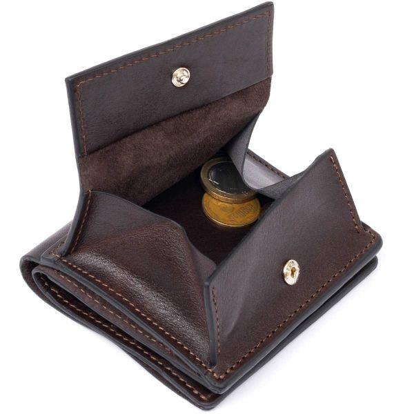 Вертикальное глянцевое портмоне с накладной монетницьою GRANDE PELLE 11330 шоколадное