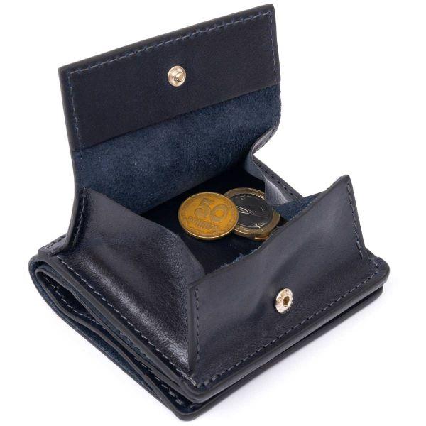 Вертикальное глянцевое портмоне с накладной монетницей GRANDE PELLE 11332 Синее