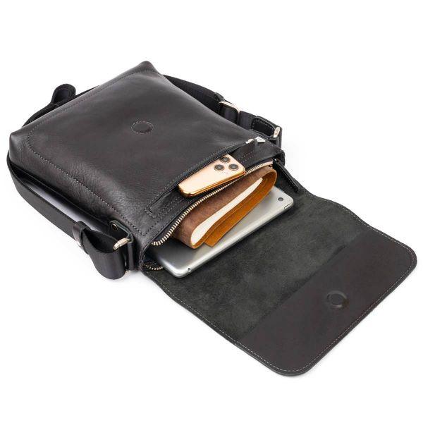 Сумка месенджер в гладкой шкуре GRANDE PELLE 11333 черная
