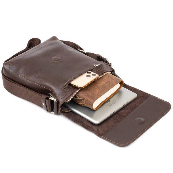 Сумка мессенджер в гладкой коже GRANDE PELLE 11334 Шоколадная