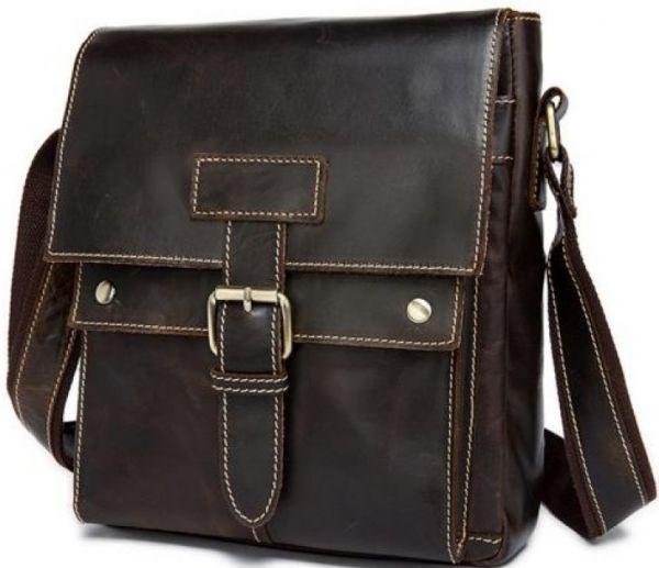 Сумка мужская Vintage 14633 кожаная коричневая