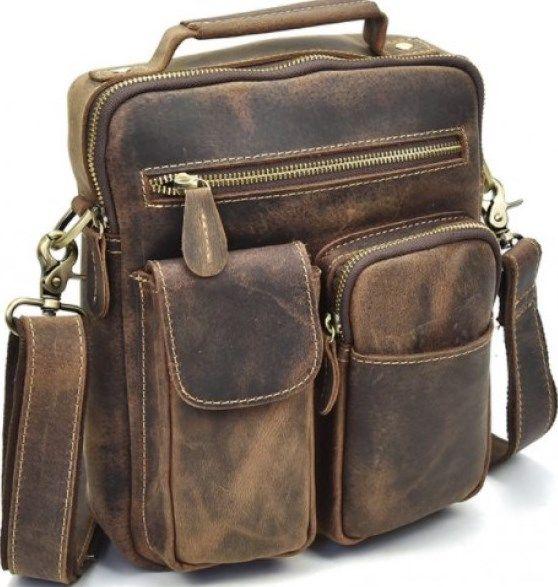 Сумка мужская Vintage 14640 кожаная коричневая