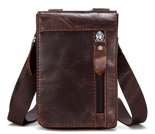 Сумка-клатч на ремень мужская Vintage 14690 коричневая