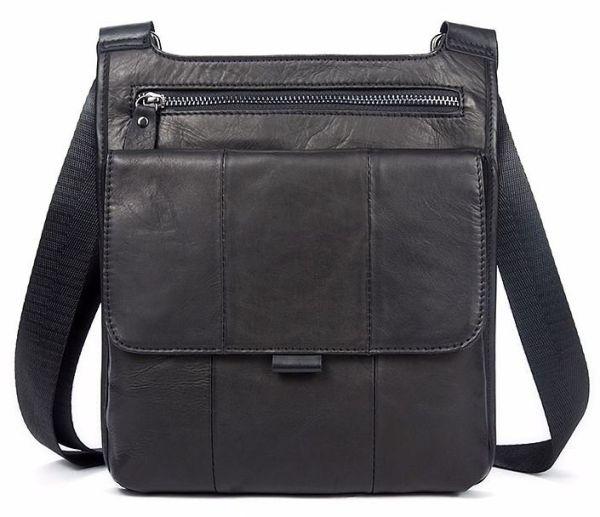 Сумка мужская гладкая Vintage 14732 черная