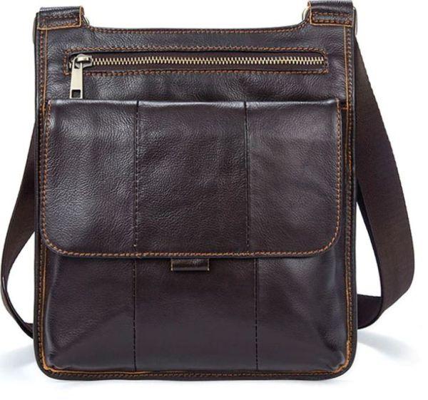 Сумка мужская гладкая Vintage 14742 коричневая