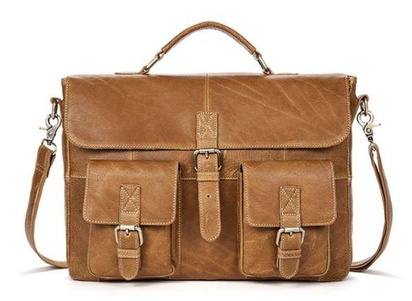 Сумка деловая мужская под ноутбук Vintage 14753 светло-коричневая