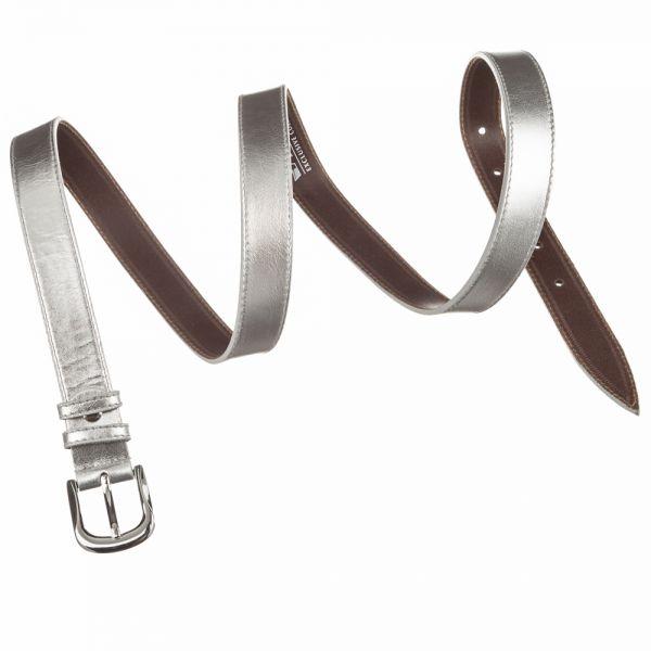 Ремень кожаный MAYBIK 15230 серебристый