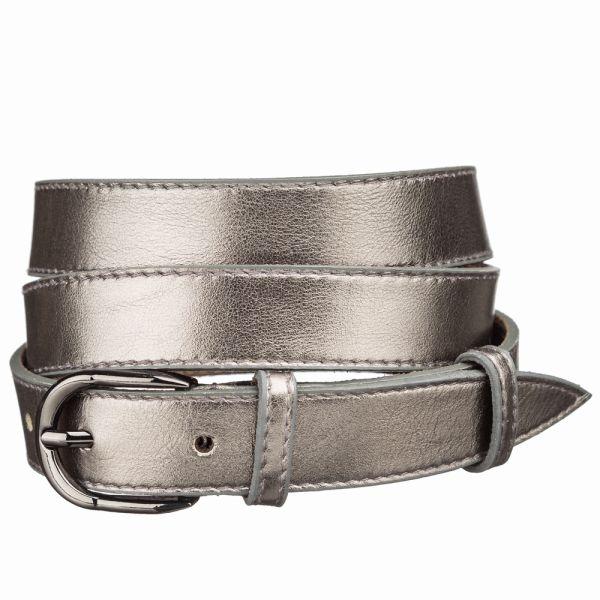 Ремень кожаный MAYBIK 15235 серый металлик