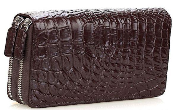 Кошелек-клатч CROCODILE LEATHER 18260 из натуральной кожи крокодила коричневый