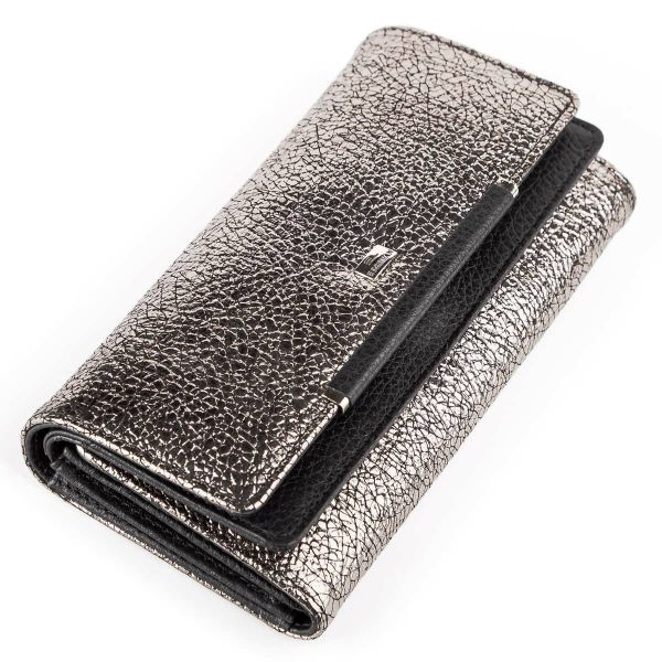 Женский кошелек Desisan 17059 кожаный серебристый