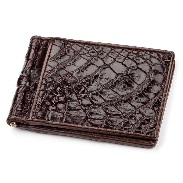 Зажим CROCODILE LEATHER 18052 из натуральной кожи крокодила коричневый