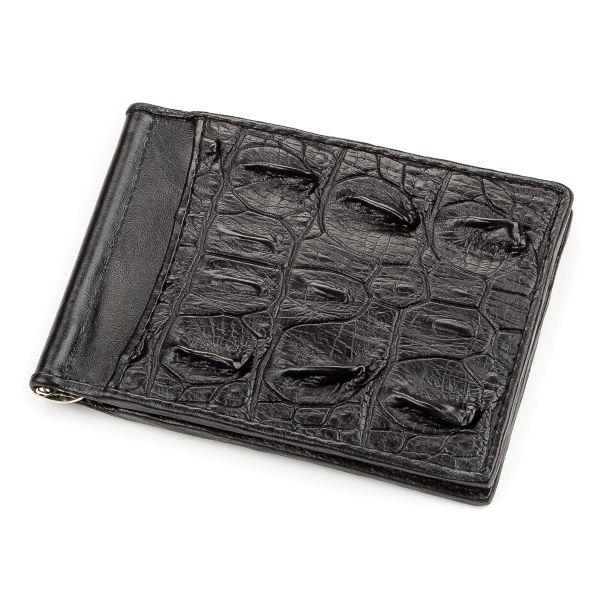 Зажим CROCODILE LEATHER 18169 из натуральной кожи крокодила черный