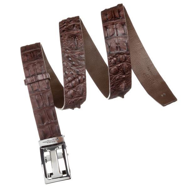 Ремень-автомат CROCODILE LEATHER 18177 из натуральной кожи крокодила коричневый