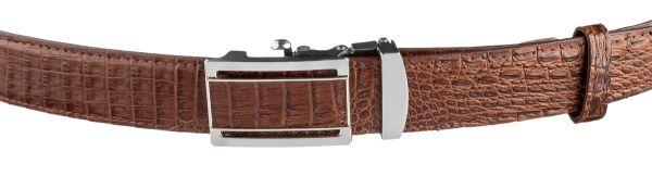 Ремень-автомат CROCODILE LEATHER 18233 из натуральной кожи крокодила (каймана) коричневый
