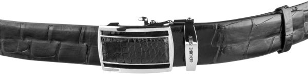 Ремень-автомат CROCODILE LEATHER 18239 из натуральной кожи крокодила черный