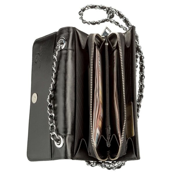 Клатч женский STINGRAY LEATHER 18504 из натуральной кожи морского ската со вставками из кожи питона черный
