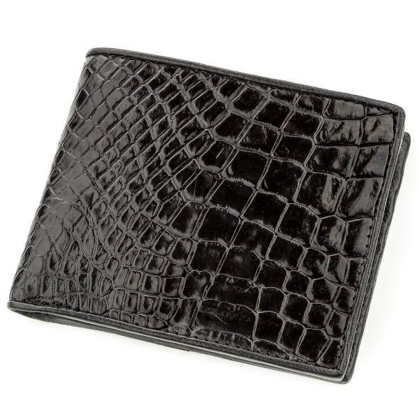 Портмоне CROCODILE LEATHER 18528 из натуральной кожи крокодила черное