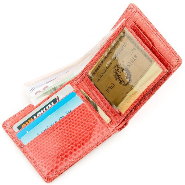 Бумажник женский SEA SNAKE LEATHER 18544 из натуральной кожи морской змеи красный