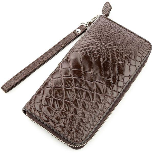 Клатч мужской CROCODILE LEATHER 18588 из натуральной кожи крокодила коричневый