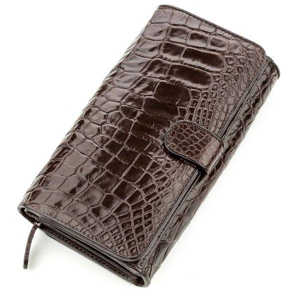 Клатч мужской CROCODILE LEATHER 18589 из натуральной кожи крокодила коричневый